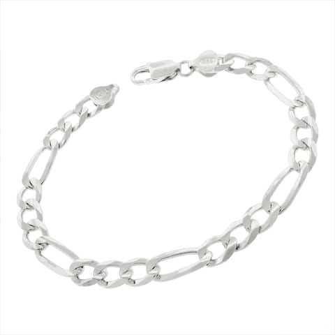 """Authentic Solid Sterling Silver 7.5mm Figaro Link ITProLux Bracelet Chain 8.5"""", 9"""", Made In Italy, Men & Women"""