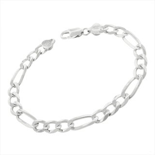 0.925 Sterling Silver 7.5-millimeter Solid Figaro Link ITProLux 9-inch Bracelet Chain