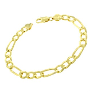 Sterling Silver Italian 7.5mm Figaro Link Solid 925 Yellow Gold Bracelet Chain 9""