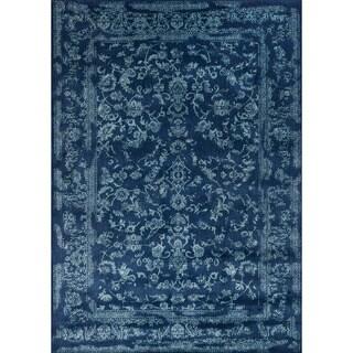 Lucca Floral Navy/ Aqua Rug (5'3 x 7'8)
