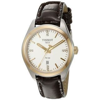 Tissot Women's T1012102603600 'PR 100' Diamond Brown Leather Watch|https://ak1.ostkcdn.com/images/products/12107975/P18969740.jpg?impolicy=medium