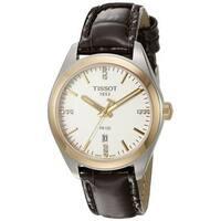 Tissot Women's T1012102603600 'PR 100' Diamond Brown Leather Watch