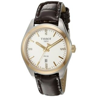 Link to Tissot Women's T1012102603600 'PR 100' Diamond Brown Leather Watch Similar Items in Women's Watches