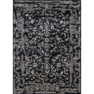 Lucca Floral Black/ Ivory Rug (2'7 x 4')