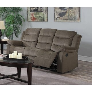 LYKE Home Carter Beige Polyester Blend Recliner Sofa