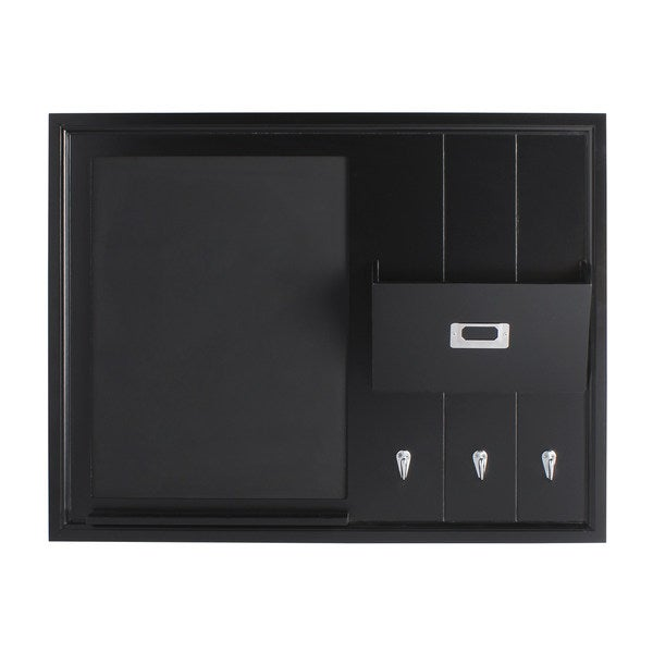 DesignOvation Dagny Wood Home Organizer with Chalkboard, Mail Holder, and Hooks