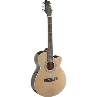 Stagg SA40MJCFI-N Natural Mini Jumbo Cutaway Acoustic-Electric Concert Guitar