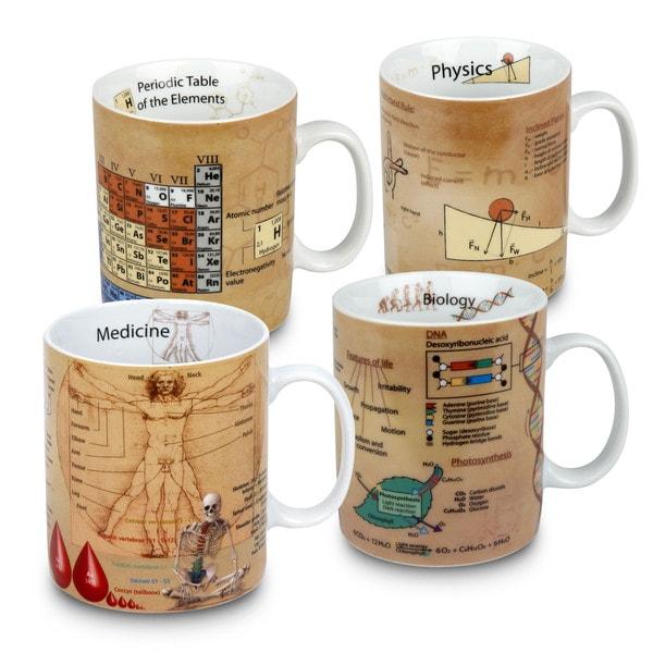 Konitz Waechtersbach Medicine, Physics, Chemistry, and Biology Mugs of Knowledge (Pack of 4)