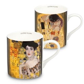 Konitz Beige, Brown, White Bone China Waechtersbach Gustav Klimt Mugs (Set of 2)