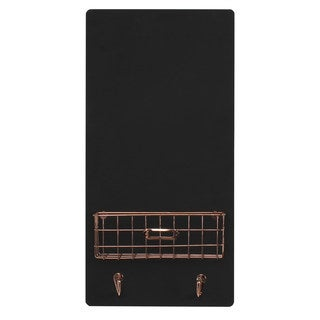 Designovation Dinah White/Black Wood Decorative Wall Chalkboard with Metal Basket and Two Key Hooks