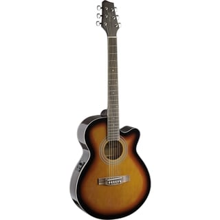 Stagg Brown Sunburst Mini Jumbo Cutaway Acoustic Electric Concert Guitar