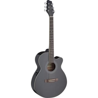 Stagg SA40MJCFI-BK Black Mini Jumbo Cutaway Acoustic-Electric Concert Guitar