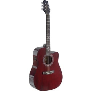 Stagg SA40DCFI-TR Dreadnought Cutaway Transparent Red Acoustic-Electric Concert Guitar