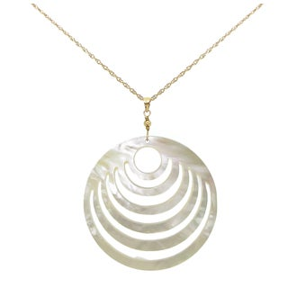DaVonna 14K Yellow Gold Rope Chains and Bead with 50mm Mother of Pearl Pendant.