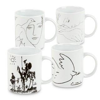 Konitz Waechtersbach Picasso White Porcelain Mugs (Set of 4)