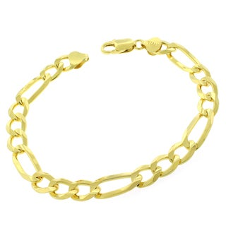"""Sterling Silver Italian 8.5mm Figaro Link Solid 925 Yellow Gold Bracelet Chain 9"""""""