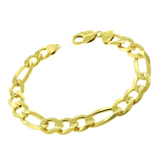 ITProlux .925 Sterling Silver Gold-plated Figaro Link 9-inch Bracelet Chain
