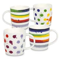 Konitz Waechtersbach VIVA White Bone China Rainbow Dots and Stripes Mugs (Pack of 4)