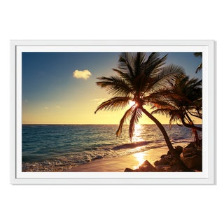 Valentinvalkov 'Palm Tree On The Tropical Beach 'Framed Paper