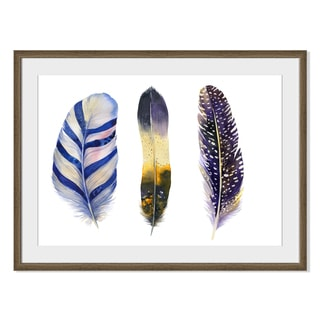 Kris Art 'Boho Watercolor Feathers I 'Framed Paper