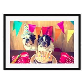 Kiko Jimenez 'Couple Of Dogs On Birthday Party 'Framed Paper