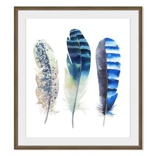 Kris Art 'Boho Watercolor Feathers Iii 'Framed Paper