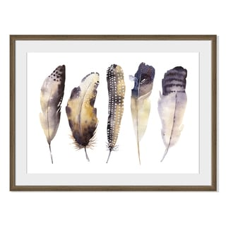 Kris Art 'Boho Watercolor Feathers V 'Framed Paper