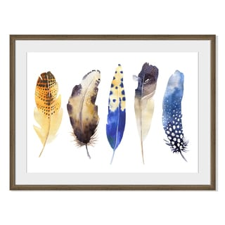 Kris Art 'Boho Watercolor Feathers Vi 'Framed Paper