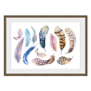 Kris Art 'Boho Watercolor Feathers Vii 'Framed Paper