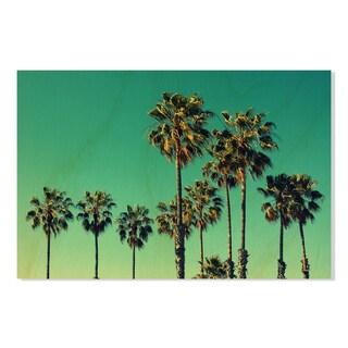 Merrvas 'Palm Trees At Santa Monica Beach 'Birchwood Print