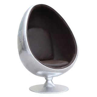 Fine Mod Imports Restro Brown Leather/Aluminum Chair