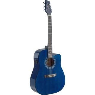 Stagg SA40DCFI-TB Transparent Blue Dreadnought Cutaway Acoustic/Electric Concert Guitar