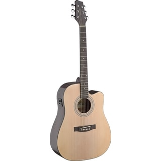 Stagg Dreadnought Natural Cutaway Acoustic Electric Concert Guitar