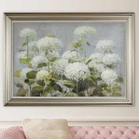 NA Danhui Nai 'White Hydrangea Garden' Framed Art - Blue