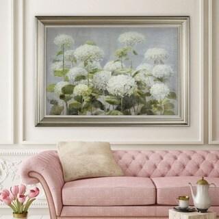 Danhui Nai 'White Hydrangea Garden' Framed Canvas Art