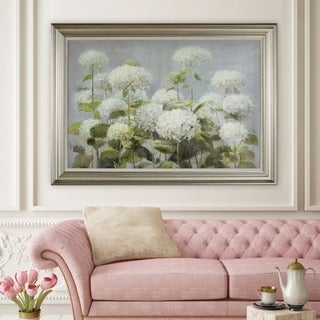 Danhui Nai 'White Hydrangea Garden' Framed Canvas Art - Blue