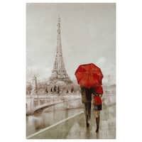 Ruane Manning Cityscape 'Modern Couple in Paris' Hand-Embellished Canvas Print (2' x 3')