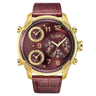 JBW Men's G4 J6248LP Red Genuine Leather/Stainless Steel/MIneral Diamond Multi Time Zone Watch