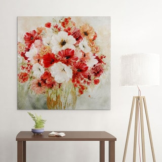 Carol Robinson 'Garden's Passion II' Square Floral Colorful Abstract Hand-painted Art