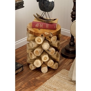 Brown Teak Wood Rustic Log Stool
