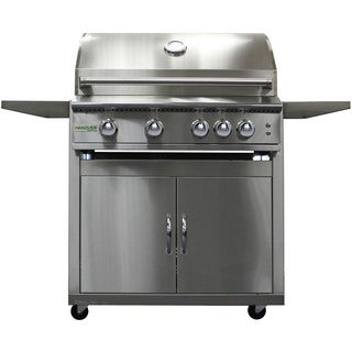 Hanover Silver Stainless Steel 40-inch 5-burner Liquid Propane Grill with Cart