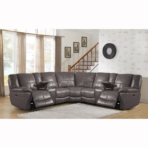 Tahoe Premium Top Grain Grey Leather Power Reclining Sectional Sofa  sc 1 st  Overstock.com & Tahoe Premium Top Grain Grey Leather Power Reclining Sectional ... islam-shia.org