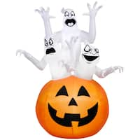 Gemmy Airblown Inflatables Multicolored Plastic/Metal/Synthetic Fiber Three Ghosts in Pumpkin Scene