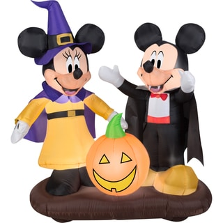 Gemmy Airblown Inflatables Mickey and Minnie With Jack-o-lantern Scene