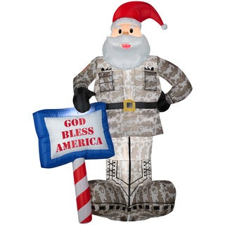 Gemmy Airblown Inflatables Military Santa with 'God Bless America' Sign