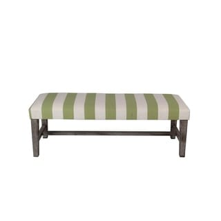 Privilege White/Olive Wood/Fabric 48-inch Bench