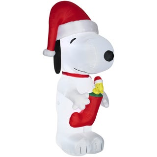 Gemmy Airblown Inflatables Peanuts Snoopy with Woodstock in Stocking Multicolor Plastic/Metal/Synthetic Fiber Giant Inflatable