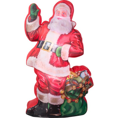 Gemmy Airblown Inflatables Photorealistic Illustrated Santa With Gift Bag