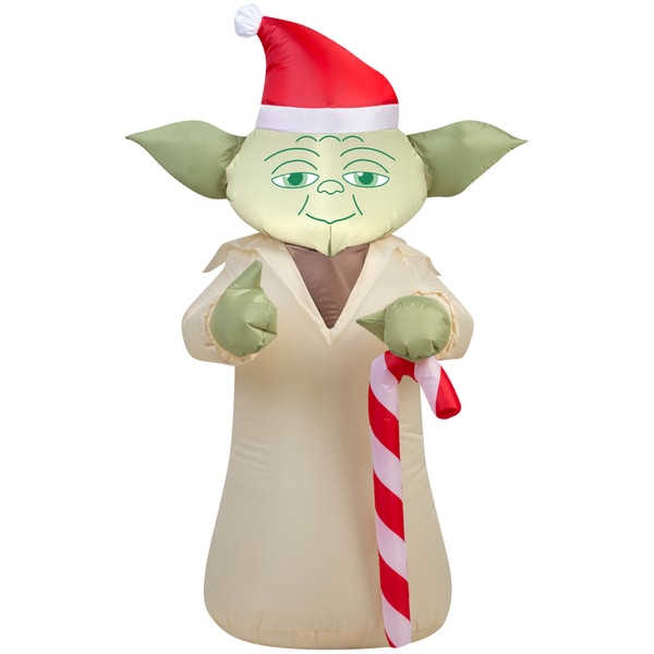 6c6712908b469 Shop Gemmy Airblown Inflatables Star Wars Yoda with Candy Cane - Free  Shipping Today - Overstock - 12108566