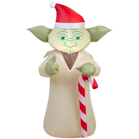Gemmy Airblown Inflatables Star Wars Yoda with Candy Cane